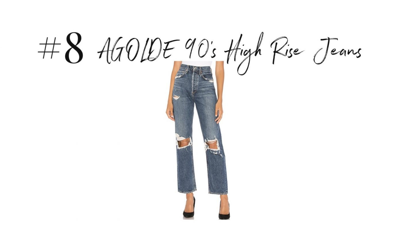 best 2019 purchases featured by top San Diego life and style blog, Navy Grace: AGOLDE 90s high rise jeans | 2019 Favorite Products by popular San Diego life and style blog, Navy Grace: image of a pair of Agolde 90's high rise jeans.