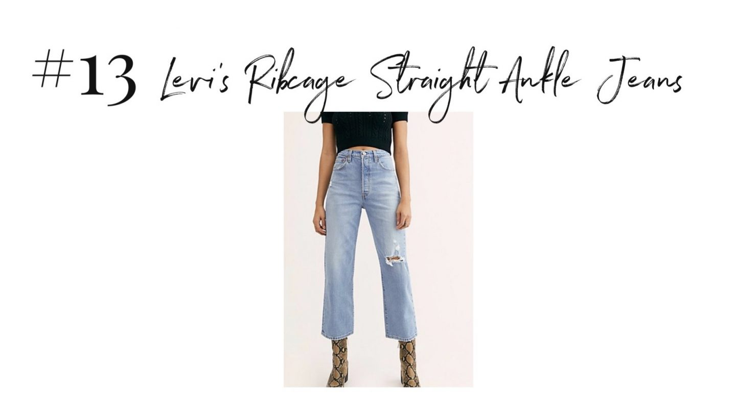best 2019 purchases featured by top San Diego life and style blog, Navy Grace: Levis Ribcage jeans | 2019 Favorite Products by popular San Diego life and style blog, Navy Grace: image of a pair of Levi's Ribcage Straight Ankle Jeans.
