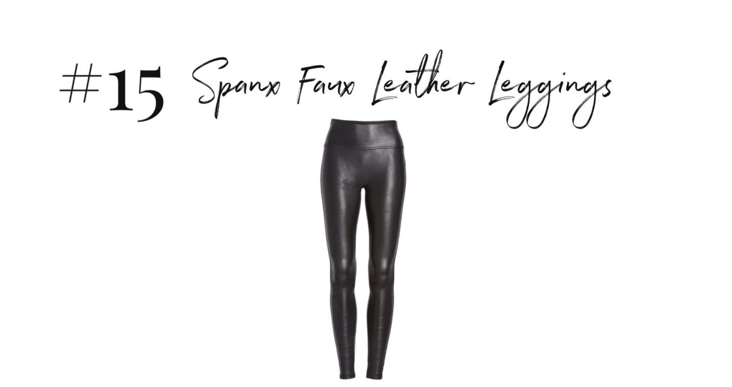 best 2019 purchases featured by top San Diego life and style blog, Navy Grace: SPANX faux leather leggings | 2019 Favorite Products by popular San Diego life and style blog, Navy Grace: image of a pair of Spanx Faux Leather Leggings.