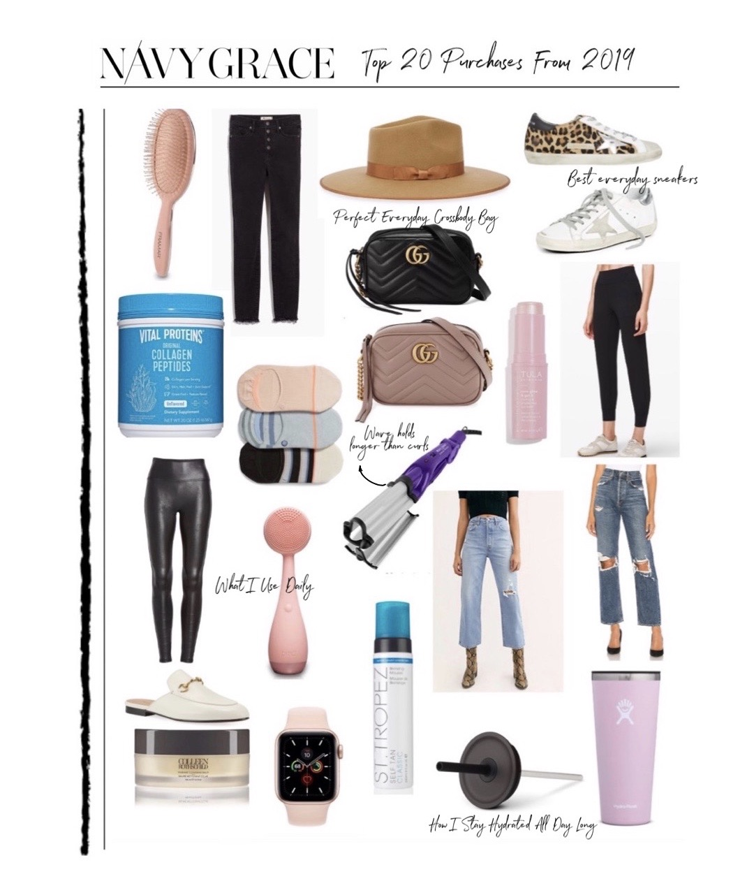 best 2019 purchases featured by top San Diego life and style blog, Navy Grace. | 2019 Favorite Products by popular San Diego life and style blog, Navy Grace: collage image of a hair brush, Gigi Pip Hat, Golden Goose Sneakers, Gucci GG Marmont mini bag, jeans, Spanx faux leather leggins, no-show socks, Vital Proteins, St. Tropez self tanner, Hydra flask, apple watch, and white slides.
