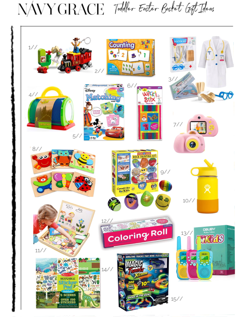 TODDLER EASTER BASKET GIFT IDEAS featured by top San Diego lifestyle blog, Navy Grace | Easter Basket Ideas for Toddlers by popular San Diego lifestyle blog, Navy Grace: collage image of a Amazon LEGO DUPLO Disney Pixar Toy Story Train, Amazon The Learning Journey: Match It! - Counting - Self-Correcting Number & Learn to Count Puzzle, Amazon Litti City Doctor Kit for Kids, Amazon Backyard Exploration Critter Case, Amazon Wonder Forge Disney Classic Characters Matching Game, Amazon WikkiStix, Amazon Leader Pro Kids Camera, Amazon Dreampark Wooden Jigsaw Puzzles, Amazon Creativity for Kids Hide & Seek Rock Painting Kit, Amazon Hydro Flask 12 oz Kids Water Bottle, Amazon ODDODDY Educational Wooden Toys, Amazon Mudpuppy Under The Sea Coloring Roll, Amazon Obuby Walkie Talkies for Kids, Amazon Melissa & Doug Reusable Sticker Pad, and Amazon Ontel Magic Tracks Xtreme.