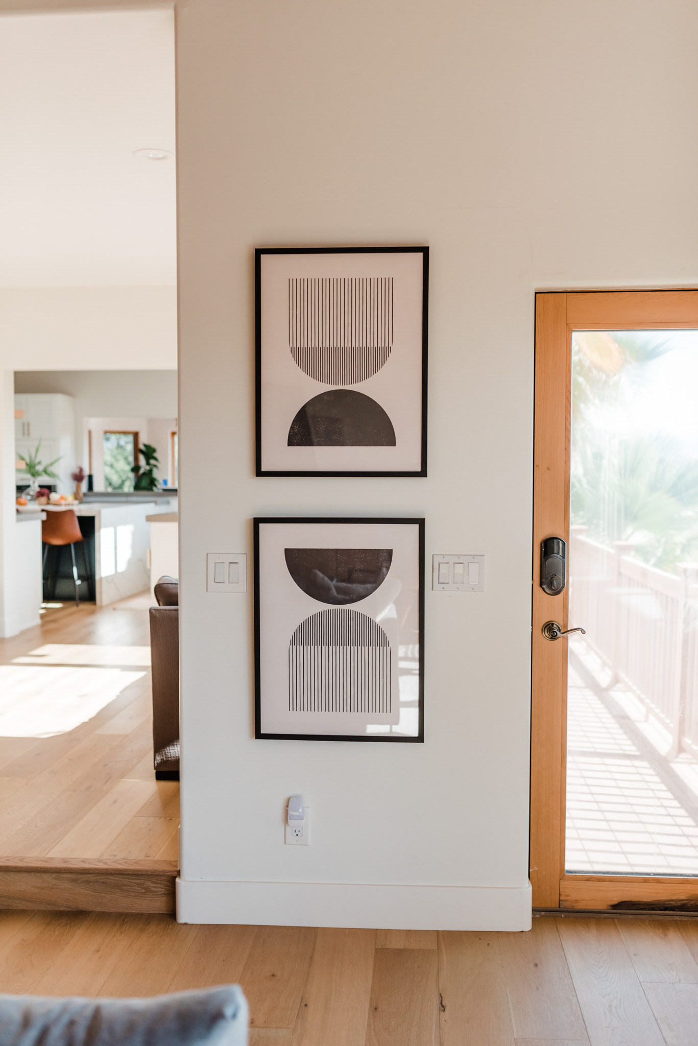 Minted Art by popular life and style blog, Navy Grace: image of two framed Etsy Mid century style woodblock print in classic geometric shapes and neutral colors.