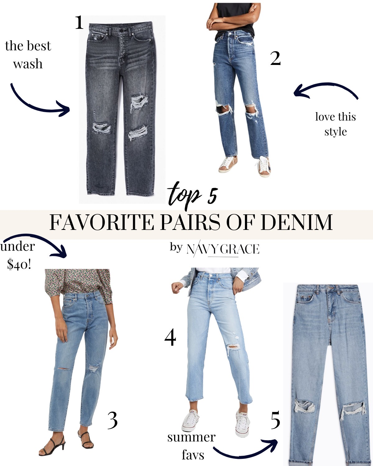 Denim Jeans by popular San Diego fashion blog, Navy Grace: collage image of  BDG High Waisted Slim Straight Jean Washed Black,  AGOLDE 90's Jean,  Mom High Ankle Jeans,  Levi's Ribcage Straight Ankle Jeans, and  Double Rip Mom Jeans.