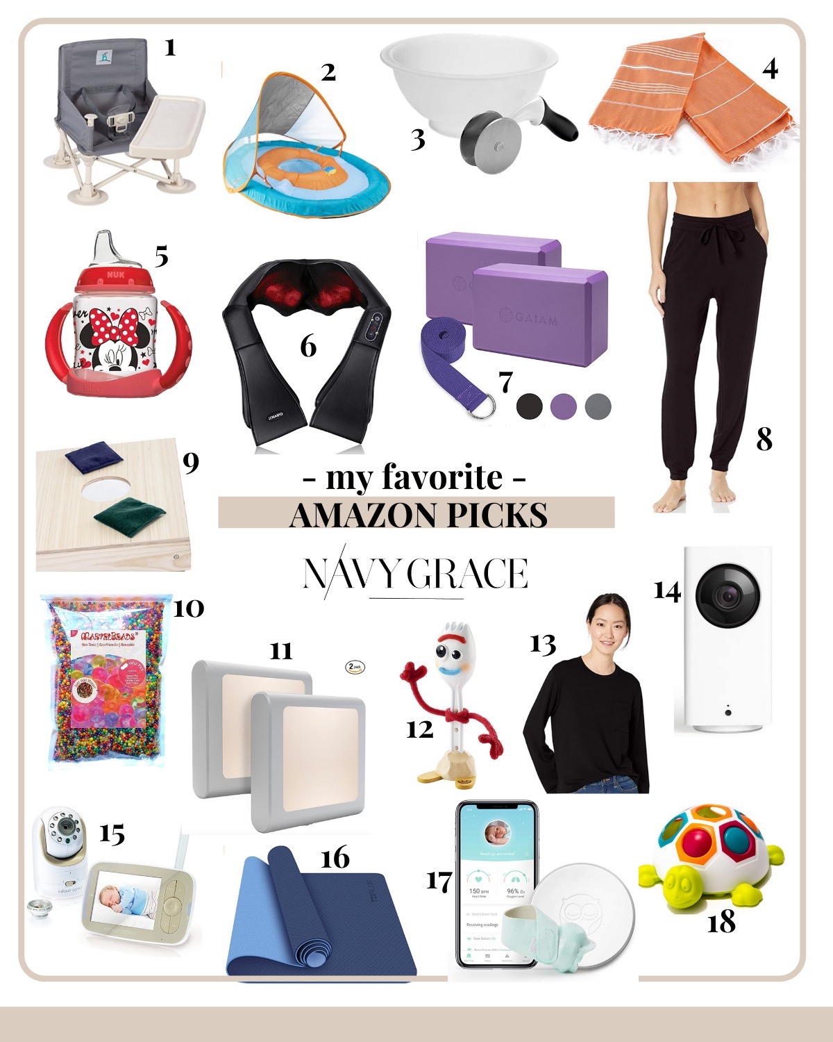 Favorite Things on Amazon by popular San Diego life and style blog, Navy Grace: collage image of a Amazon Owlet baby monitor, Amazon Portable Travel High Chair and Booster, Amazon Infant Pool Float with Sun Canopy, Amazon Salad Bowl and Cutter, Amazon Kids Beach/Pool Towel, Amazon Mini Mouse NUK Sippy Cup, Amazon Neck and Back Massager, Amazon Yoga Blocks, Amazon Black Loungewear Pants, Amazon Corn Hole Bags, Amazon water beads, Amazon LED Night Lights, Amazon Forky Toy Story Toy, Amazon Black Loungewear Top, Amazon Wyze Baby Monitor Camera, Amazon Infant Optics DXR-8 Baby Monitor, Amazon yoga mat, Amazon Turtle Baby Toy.
