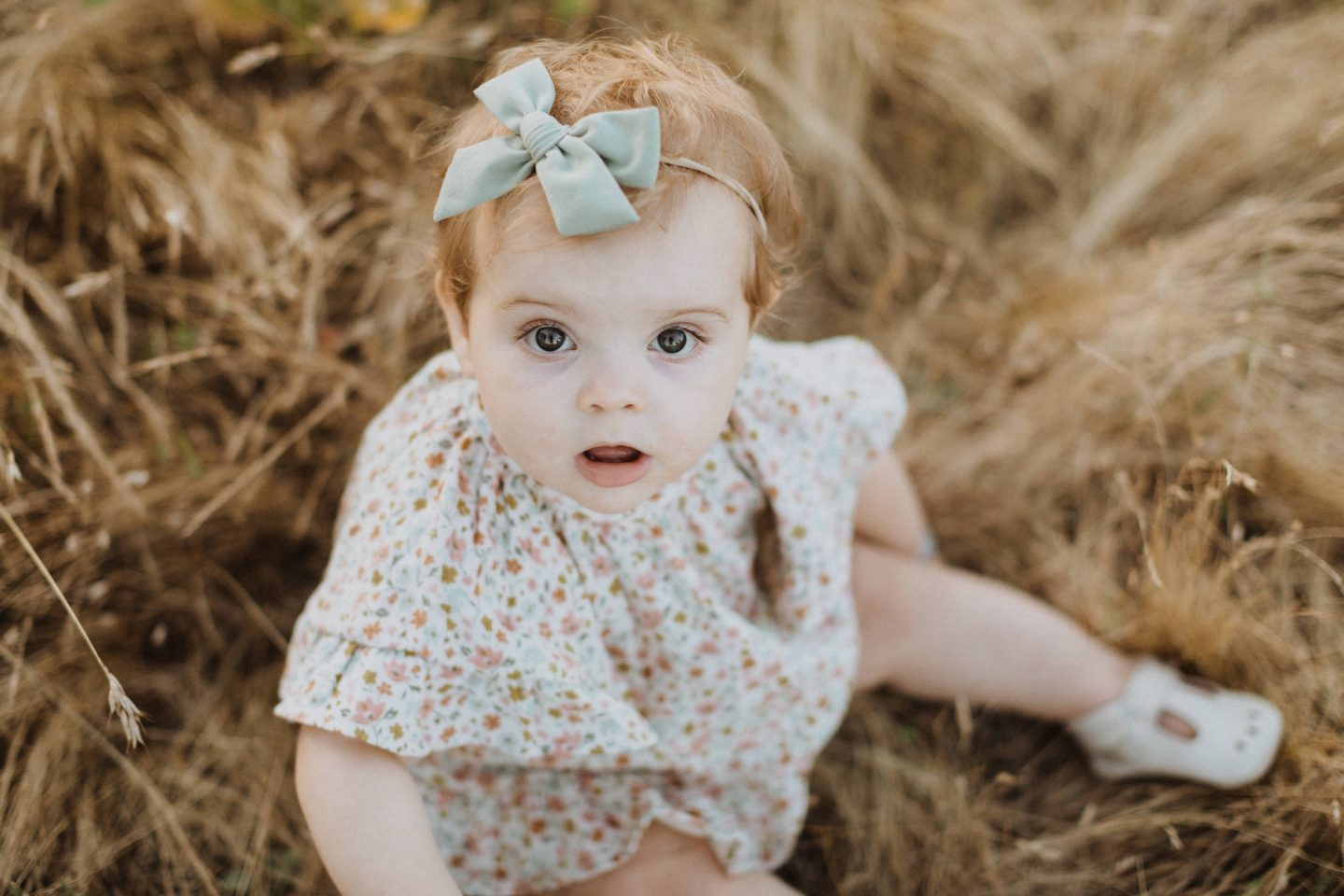 Life Update by popular lifestyle blog, Navy Grace: image of a baby sitting in some tall grass and wearing white mary jane shoes, a mint green bow head band, and a floral print dress.