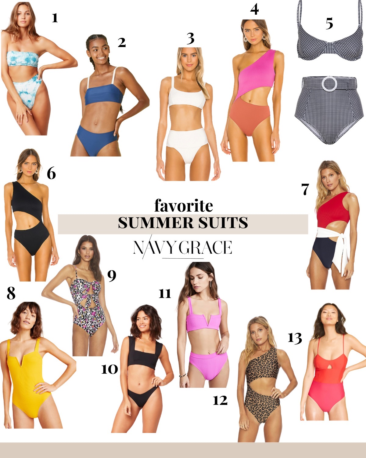 Summer Swimsuits by popular San Diego fashion blog, Navy Grace: collage image of a blue tie dye bikini, SummerSalt bikini top and bottoms, White Bikini, Beach Riot Pink and Coral One Piece, Gingham bikini, Black Beach Riot One Piece,  Red, White, and Blue One Piece, L Space Yellow One Piece, Floral Leopard One Piece, L Space Black Parker Top and bottoms, Pink Lee Lee Bikini, Leopard Asymmetrical Swimsuit, and Summersalt The Swan Dive.