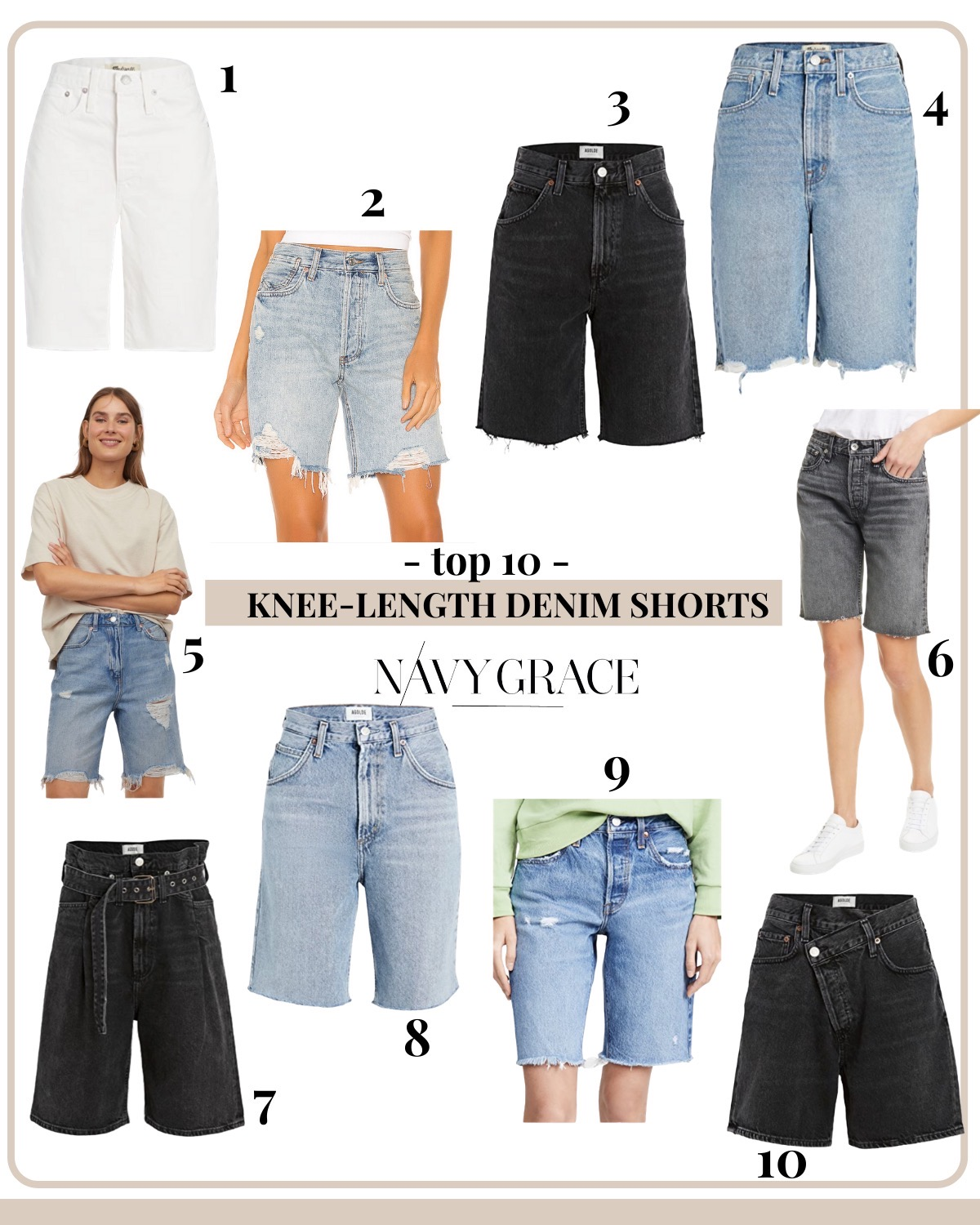 Womens Knee Length Denim Shorts by popular San Diego fashion blog, Navy Grace: collage image of Madewell white denim shorts, Free People Vintage Denim shorts, AGOLDE Black Pinch Waist Denim, Madewell high rise denim shorts, Light Denim blue denim shorts, Rag and Bone cut off denim, AGOLDE Paperbag Shorts, AGOLDE Blue Denim Pinch Waist, Levi's 501 Denim Shorts, and Criss-Cross Upsize Shorts.