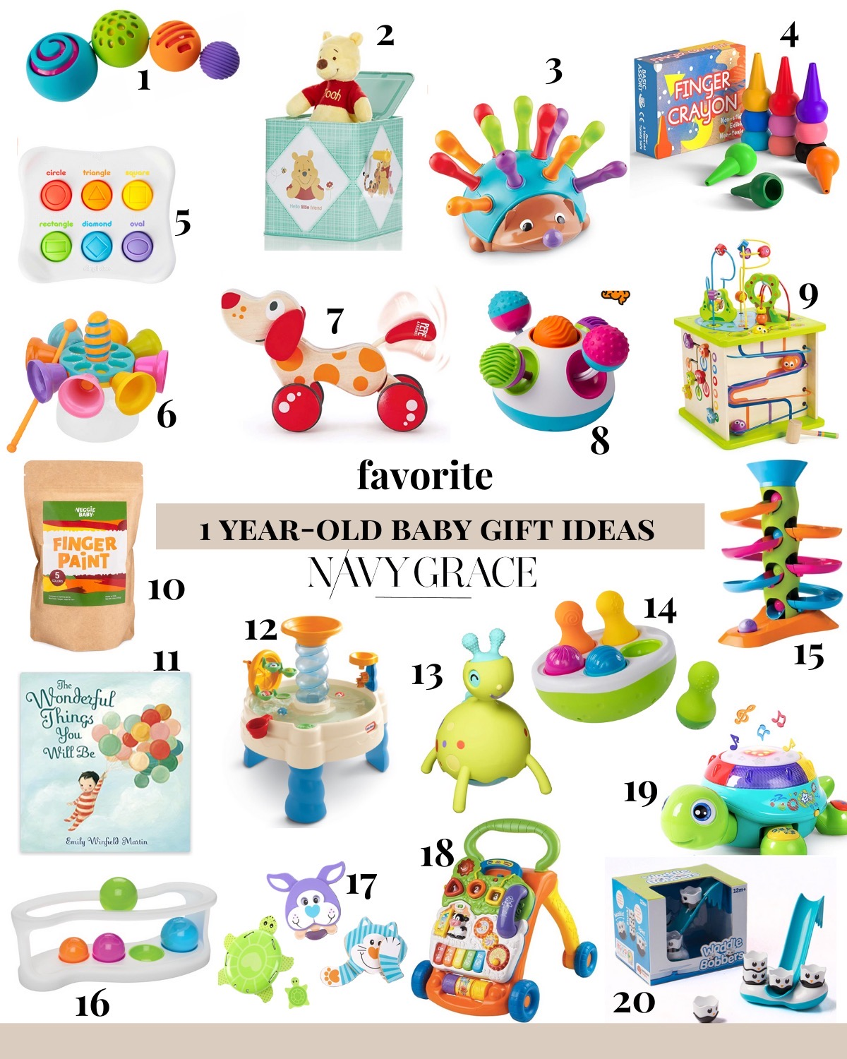 AMAZON FAVORITES: 20 GIFT IDEAS FOR ONE YEAR OLDS featured by top San Diego lifestyle blogger, Navy Grace | Gift Ideas for One Year Old by popular San Diego motherhood blog, Navy Grace: collage image of a OomeeBall, Winnie-the-Pooh jack-in-the-box, The Fine Motor HedgeHog, finger crayons, Dimpl Duo, spinning handbell set, Walk-A-Long Wooden Puppy, Fat Brain Toys Klickity Toy,  Wooden Creatures Activity Cube, finger paint, The Wonderful Things You Will Be Book, Little Tikes Spiralin' water table, Rollobie, Spinny Pins wobble toy,  Roll Again Tower, Roll Again sorter, Favorite Pets Grasping Toys, Sit to Stand Learning Walker, iPlay, iLearn Turtle, and Wobble Bobble bath toys.