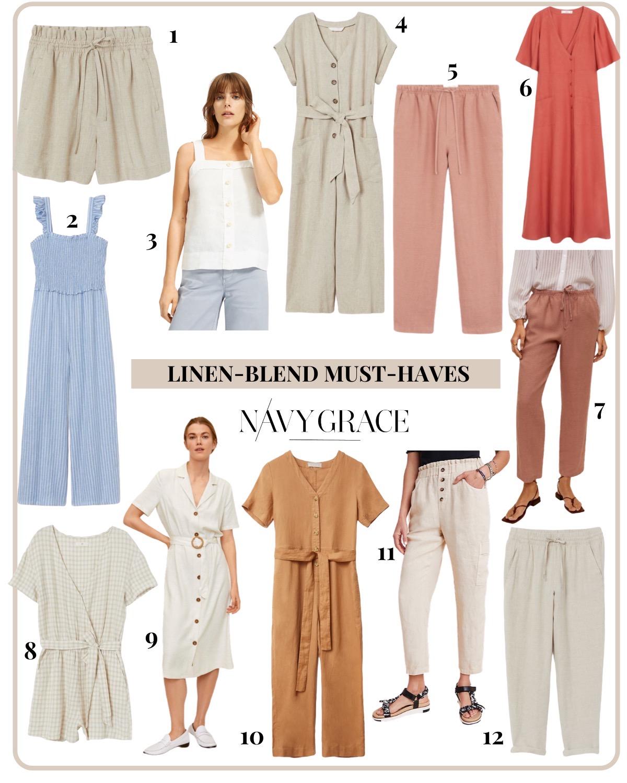 Linen Blend by popular San Diego fashion blog, Navy Grace: collage image of linen-blend jumpsuits, linen-blend romper, linen-blend shorts, and linen-blend pants.