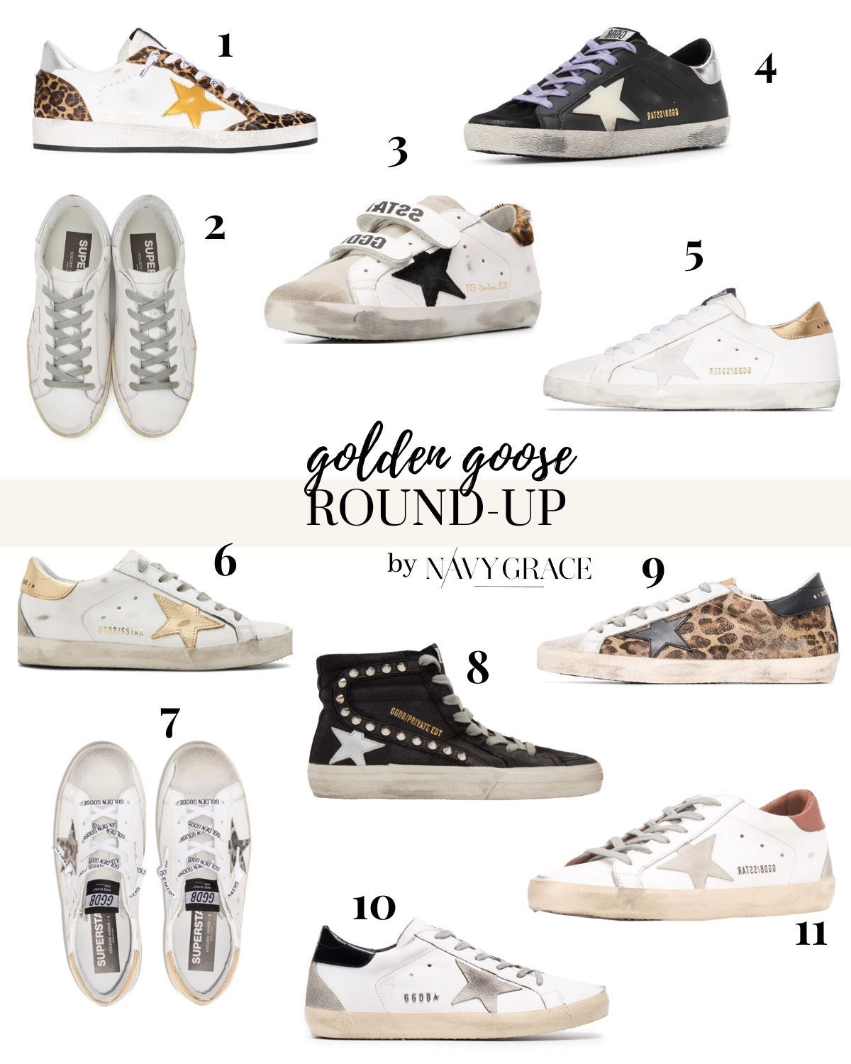 Golden Goose Sneakers by popular San Diego fashion blog, Navy Grace: collage image of Golden Goose Sneakers.