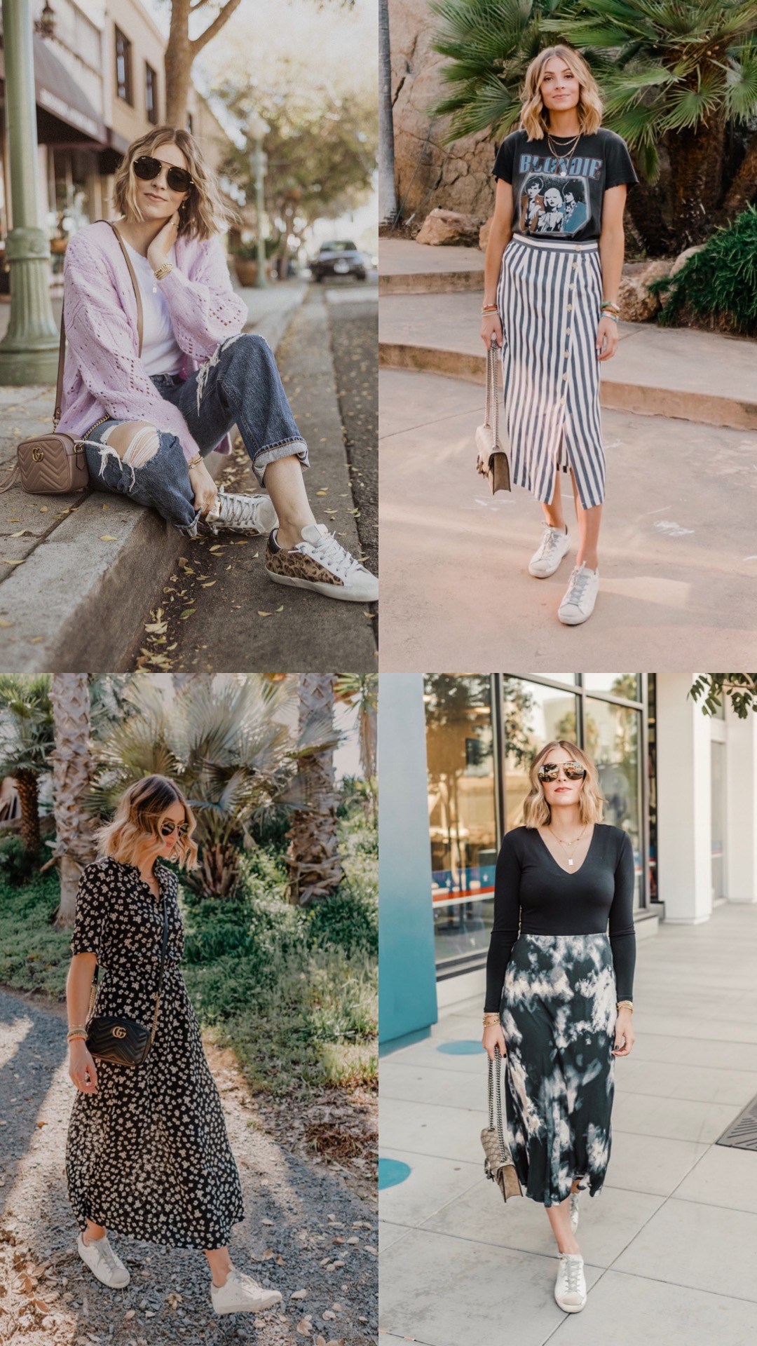 Golden Goose Sneakers by popular San Diego fashion blog, Navy Grace: image of a woman wearing a purple sweater, band t-shirt, blue and white strip skirt, black and white print floral dress, and black tie dye skirt with various Golden Goose Sneakers.