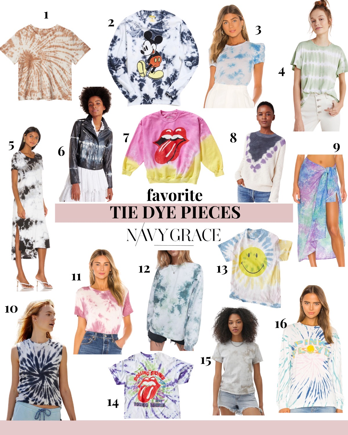 Tie Dye Fashion by popular San Diego fashion blog, Navy Grace: collage image of Mickey Mouse tie dye sweatshirt, Evereve boxy tie dye t-shirt, Urban Outfitters tie dye smily face t-shirt, tie dye dress, Rolling Stones tie dye t-shirt, tie dye wrap, tie dye jacket, rolling stone tie dye sweatshirt, tie dye sarong, and Love Activewear Tank.