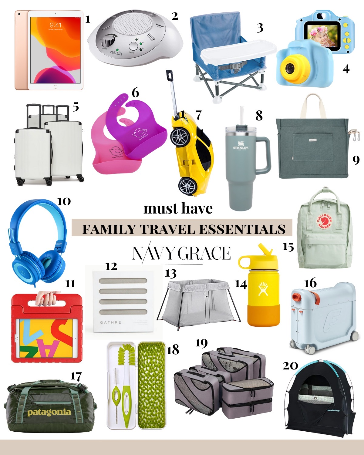 Family Travel by popular San Diego motherhood blog, Navy Grace: collage image of a Nordstrom 'Mini Kånken' Water Resistant Backpack FJÄLLRÄVEN, Nordstrom 40-Liter Rolling Duffle Bag PATAGONIA, Amazon Summer Infant Summer Pop 'n Sit Portable Booster Chair, iPad, white noise sound machine, Amazon VATENIC Kids Camera, Nordstrom Ambeur 3-Piece Metallic Luggage Set CALPAK, Amazon Happy Healthy Parent Silicone Baby Bibs, Amazon Ridaz Lamborghini Carry-on Hand Luggage for kids, Stanley ADVENTURE QUENCHER TRAVEL TUMBLER, Birdling Day Tripper, Amazon noot products K11 Foldable Stereo Tangle-Free 3.5mm Jack Wired Cord On-Ear Headset, Amazon BMOUO Kids Case for iPad, Amazon BABYBJORN Travel Crib Light, Amazon Hydro Flask 12 oz Kids Water Bottle, Jetkids by Stokke Bedbox® Ride-On Carry-On Suitcase, Amazon Boon Trip Travel Drying Rack for Baby Bottles and Brushes, Amazon Bagail 6 Set Packing Cubes,3 Various Sizes Travel Luggage Packing Organizers, SlumberPod Privacy Pod for Traveling with Babies and Toddlers, and Hydro Flask 8L Lunch Tote.