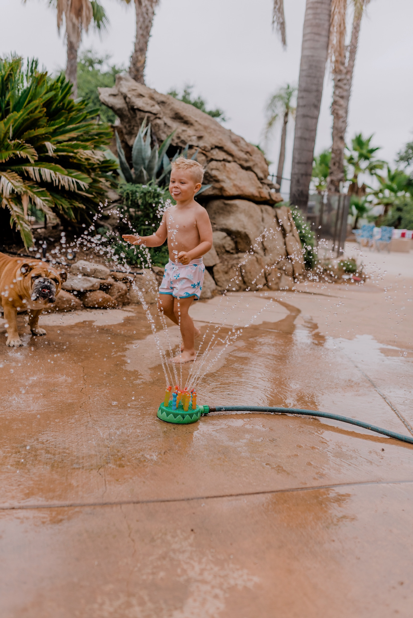 18 SUPER FUN OUTDOOR ACTIVITIES FOR YOUR FAMILY THIS SUMMER featured by top San Diego lifestyle blogger, Navy Grace | Family Outdoor Activities by popular San Diego lifestyle blog, Navy Grace: image of a young boy playing with a Melissa & Doug Splash Patrol Sprinkler.