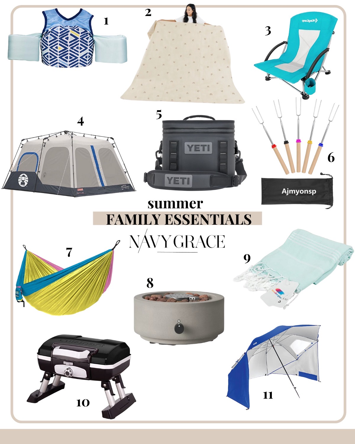Outdoor Essentials by popular San Diego lifestyle blog, Navy Grace: collage image of a Little Fin Swimmer float vest, Maxi Gathre Mat, Low Sling beach chair, 8 person Coleman tent, Yeti cooler, roasting sticks, Turkish beach towel, portable tabletop grill, Sun and Rain canopy umbrella, Veer Gear wagon, and a tabletop fire pit.