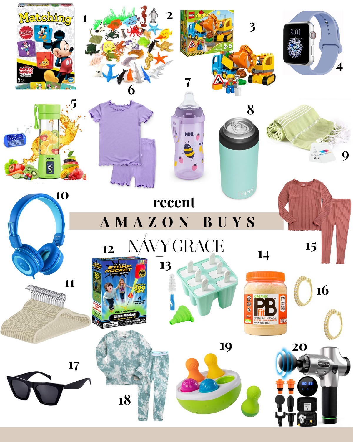 Amazon Favorites by popular San Diego life and style blog, Navy Grace: collage image of white felt hangers, black sunglasses, deep tissue massager, PB fit powder, gold hoop earrings, smart watch, kid pajama sets, sea animals, Duplo construction set, ear phones, stomp rocket, silicone popsicle mold, Yeti colster can cooler, and a turkish towel.