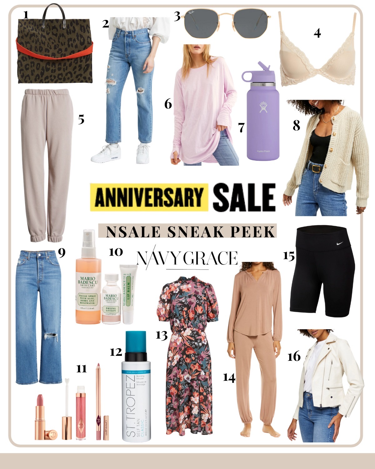 Nordstrom Anniversary Sale by popular San Diego fashion blog, Navy Grace: collage image of a Clare V. Leopard Bag, Levi's 501 Jeans, Rayban Sunglasses, Natori Bra, Cozy Jogger Sweatpants, Extra Long Cotton Top, Hydro Flask 32 Oz Bottle, Cream Stitch Cardigan, Levi's Ribcage Denim, Mario Bandescu Essential Set, Pillow Talk Lip Set, St. Tropez Self Tanner, Floral Puff Sleeve Dress, Two Piece Lounge Set, Nike Biker Shorts, and Faux Leather Biker Jacket.