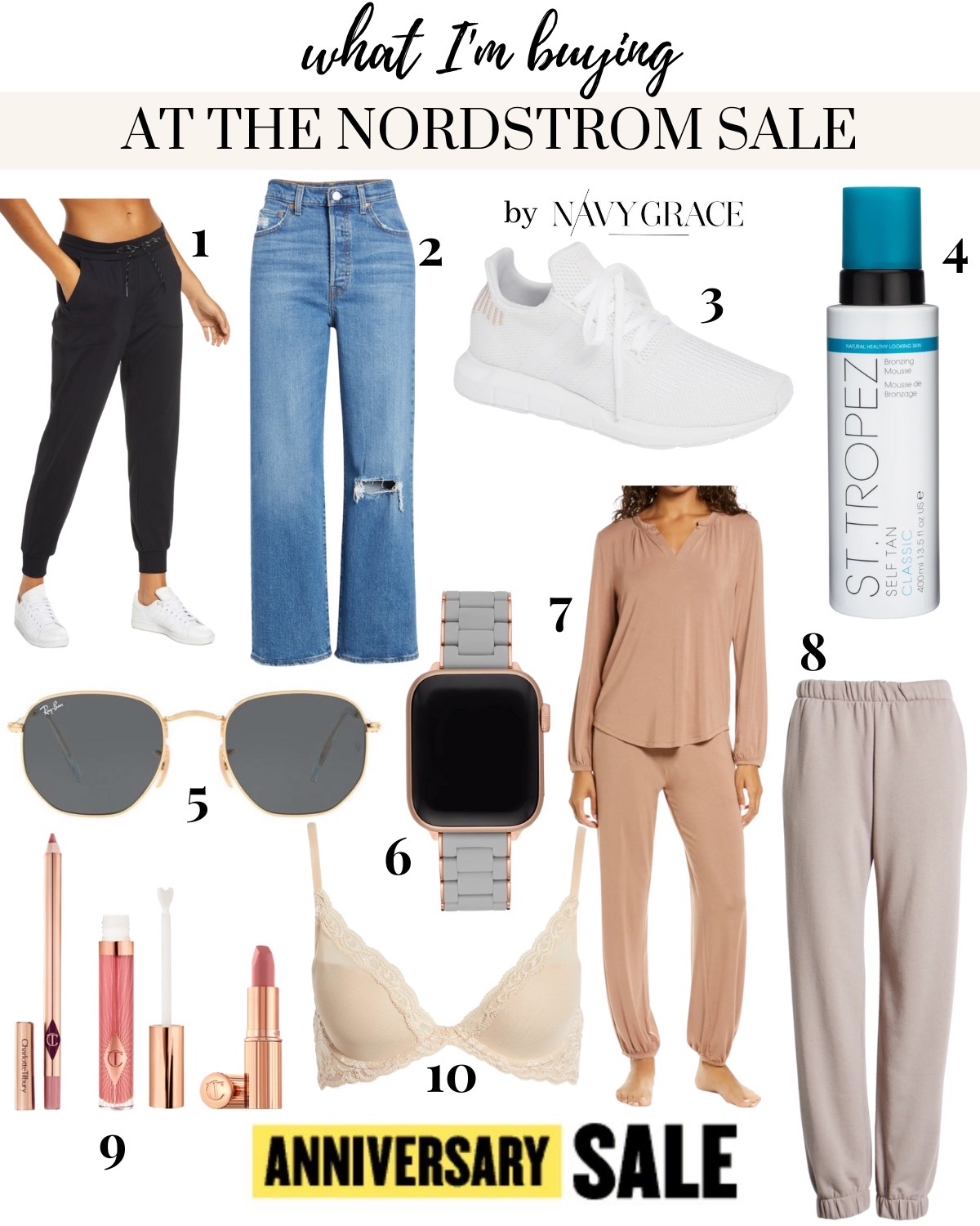 Nordstrom Anniversary Sale by popular San Diego fashion blog, Navy Grace: collage image of Nordstrom Ray-Ban 51mm Hexagonal Flat Lens Sunglasses, Nordstrom Black Live In Joggers, Nordstrom Levi's Ribcage Denim, Nordstrom White Adidas Swift Run Sneaker, St. Tropez Self Tanner, Michele Silicone Apple Watch Band, Namaste Two-Piece Lounge Set BAREFOOT DREAMS, Pillow Talk Lip Set, and a Natori Bra.
