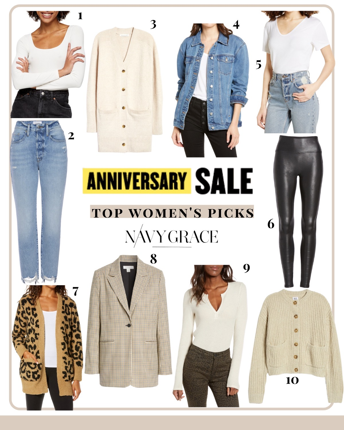 Nordstrom Anniversary Sale by popular San Diego fashion blog, Navy Grace: collage image of Spanx faux leather leggings, square neck body suite, frame high waist denim, Cream longline cardigan, oversized Madewell denim jacket, basic v neck t-shirt, barefoot dreams leopard print cardigan, plaid blazer, thermal henley top, and cream stitch cardigan.
