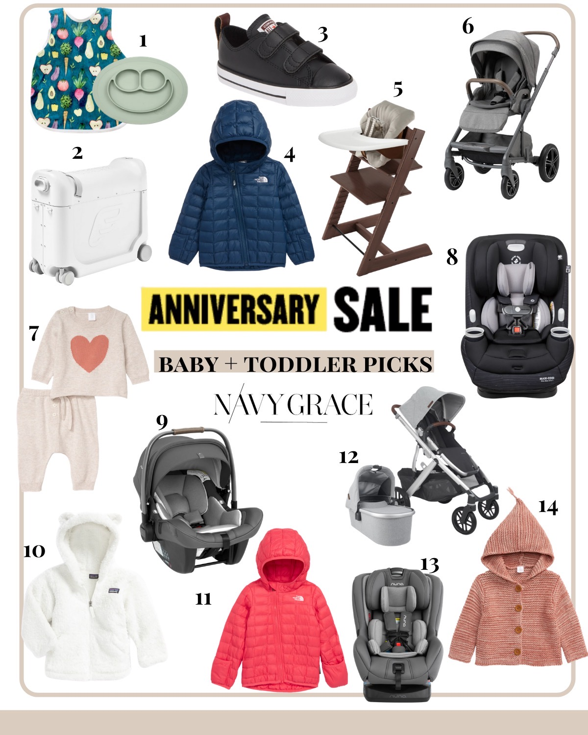 Nordstrom Anniversary Sale by popular San Diego fashion blog, Navy Grace: collage image of a Silicone Feeding Mat and Bib, Jet Kids Luggage,  Black Converse, The North Face Jacket, Stokke Baby High Chair, Nuna Mixx Stroller, Graphic Sweater and Pant Set, Maxi Cosi 3 in 1 Convertible Car Seat, Nuna Pipa Carseat, Patagonia Fleece Hoodie, The North Face Pink Jacket, Uppa Baby Vista Stroller, Nuna Rava Convertible Carseat, and Cotton Hooded Jacket.