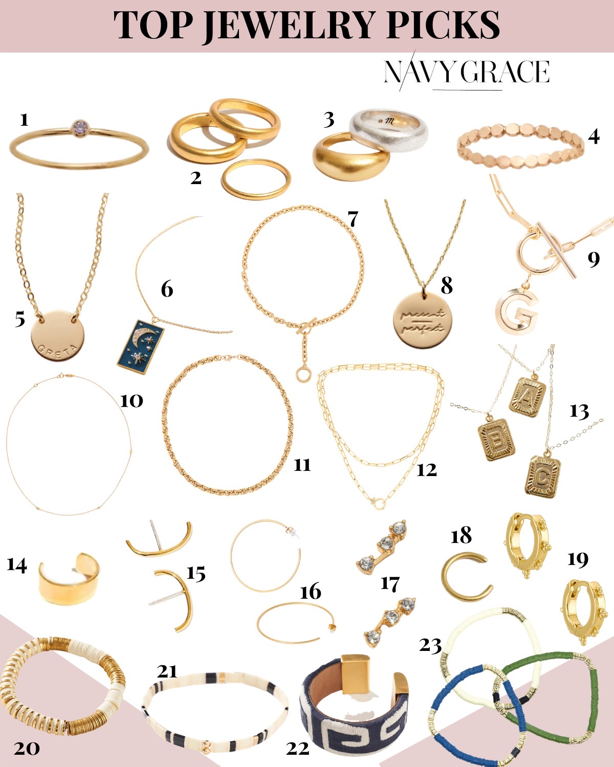 Gold Jewelry by popular San Diego fashion blog, Navy Grace: collage image of gold necklaces, gold bracelets, gold earrings, and gold rings.