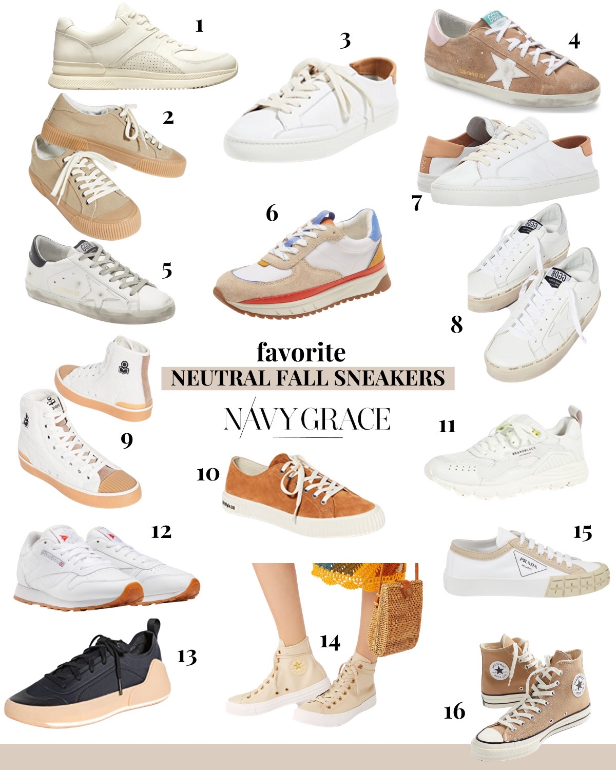 Fall Sneakers for Women by popular San Diego fashion blog, Navy Grace: image of women's high top sneakers, athletic sneakers, and suede sneakers.