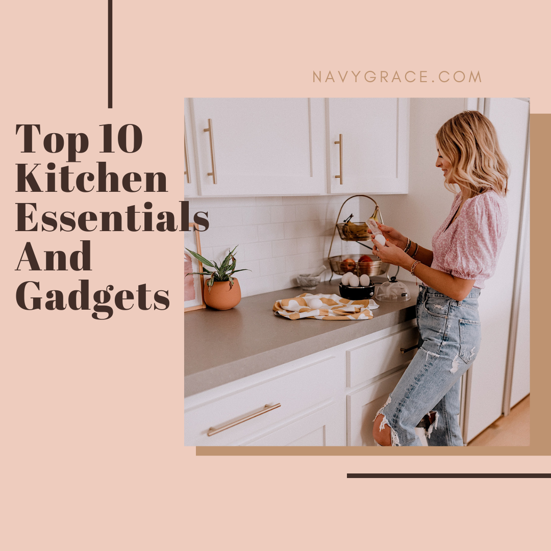 Popular Topics by San Diego lifestyle blog, Navy Grace: Pinterest image of a woman using kitchen gadgets.