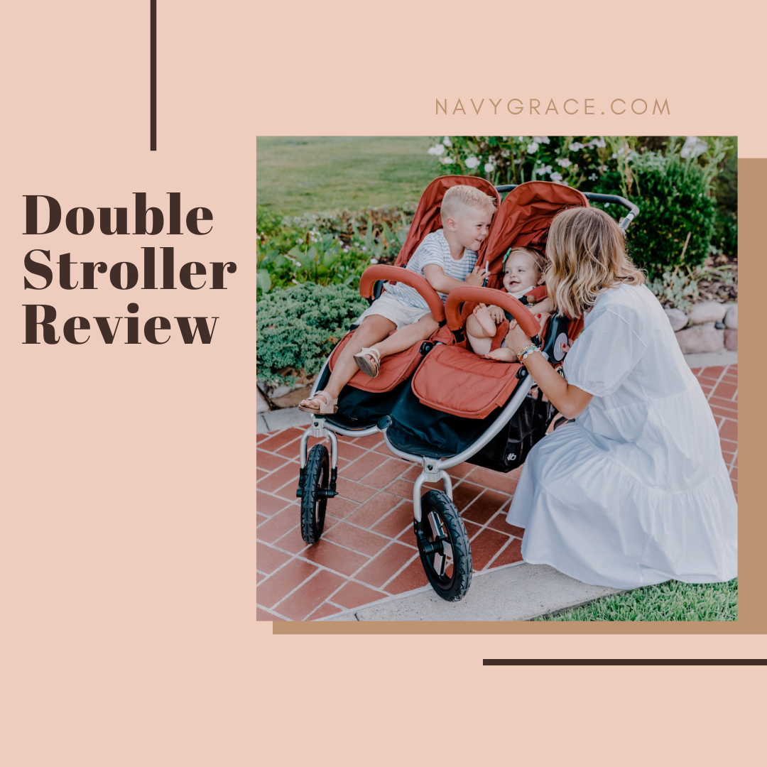Popular Topics by San Diego lifestyle blog, Navy Grace: Pinterest image of a mom kneeling next to her kids as they sit in a double stroller.