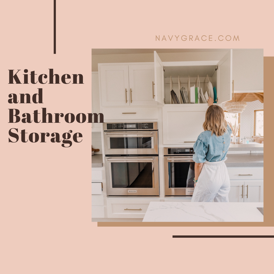 Popular Topics by San Diego lifestyle blog, Navy Grace: Pinterest image of a woman putting a dish away in her kitchen cupboard.