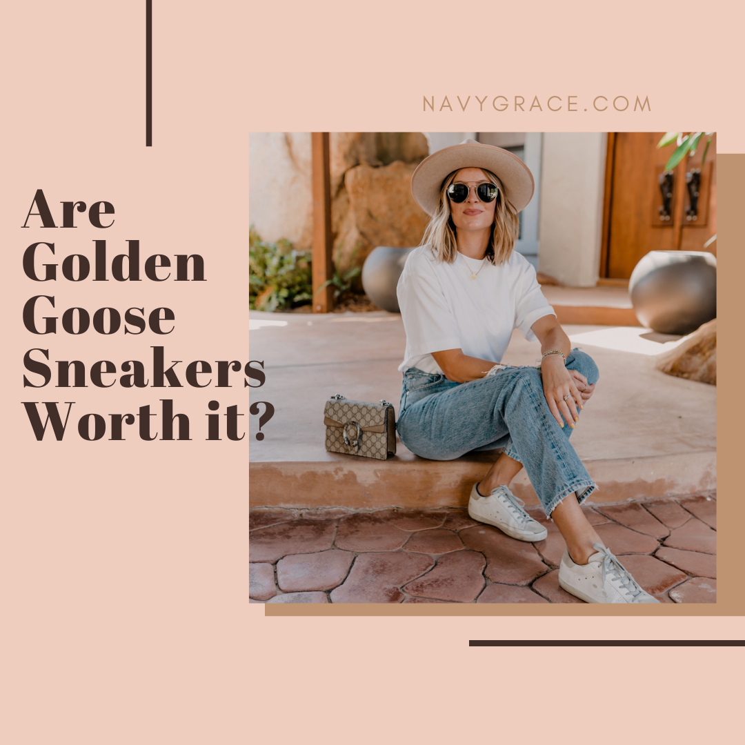 Popular Topics by San Diego lifestyle blog, Navy Grace: Pinterest image of a woman wearing golden goose sneakers, a white t-shirt, pair of jeans, Gigi Pip hat and sunglasses.