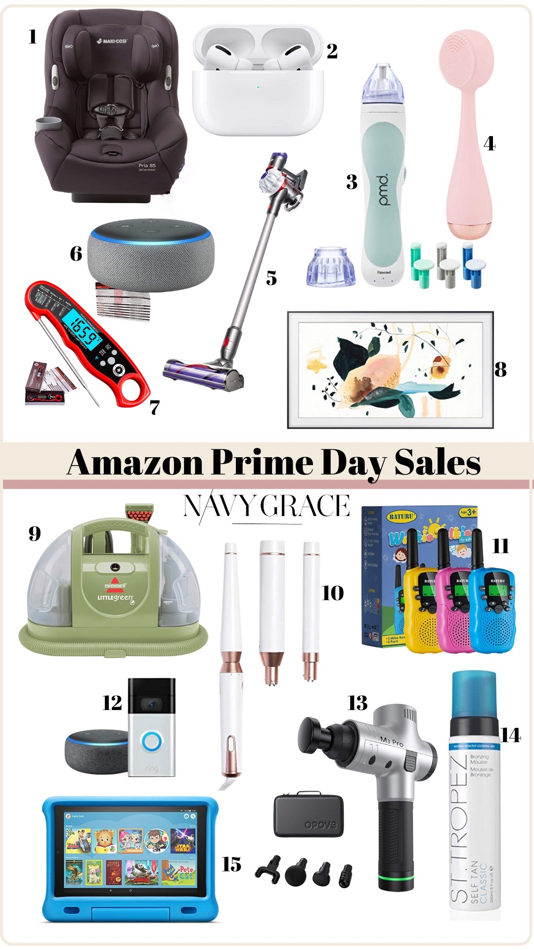 Prime Day by popular San Diego life and style blog, Navy Grace: collage image of a Maxi Cosi carseat, Air Pods, Alexa, Dyson cordless vacuum, meat thermometer, walkie talkies, T3 curling wand, St. Tropez self tanner, Amazon Kindle,SAMSUNG 55-inch Class FRAME QLED LS03 Series, neck massager, Bissell carpet cleaner,PMD Personal Microderm Classic and PMD Clean