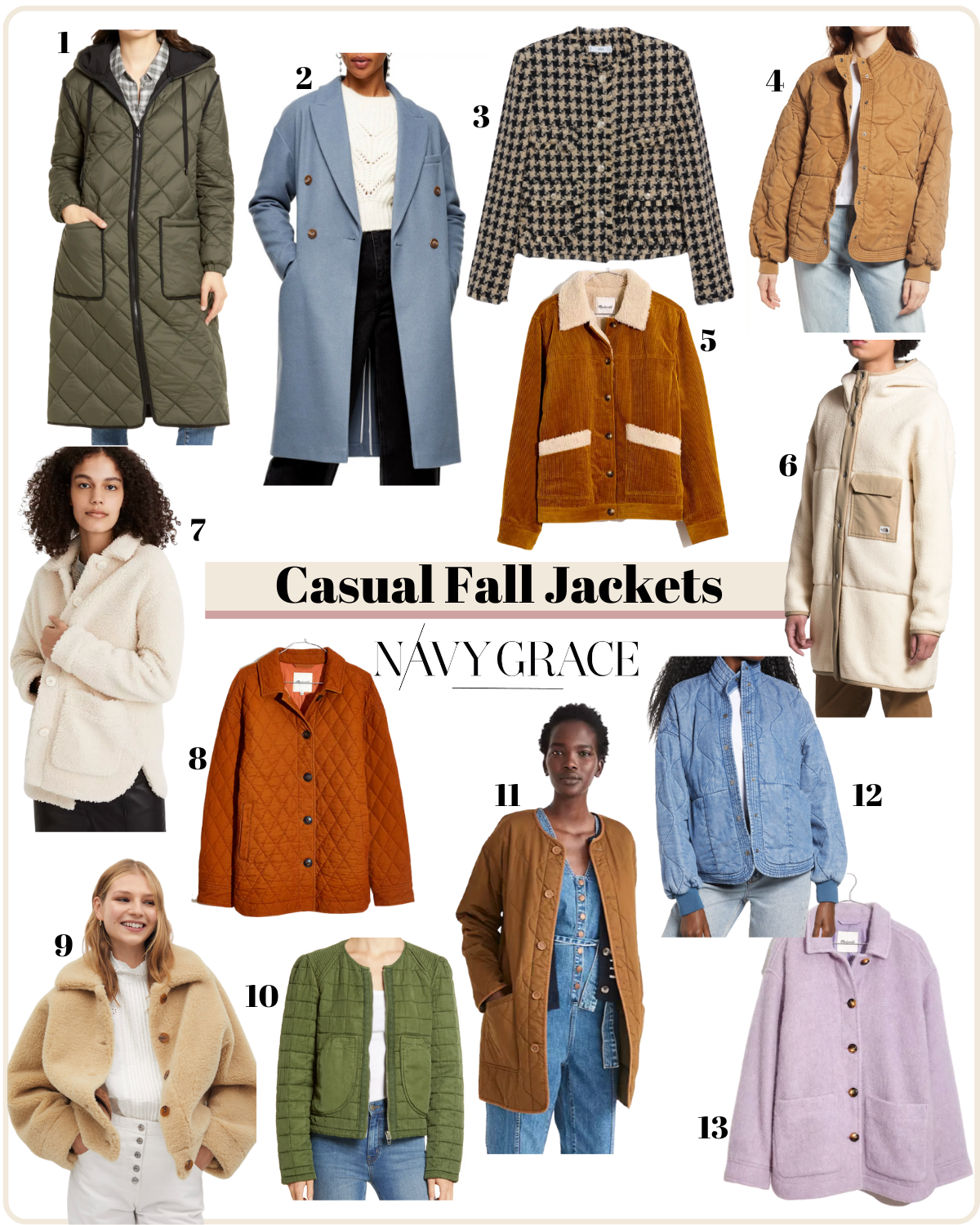 Casual Jackets by popular San Diego fashion blog, Navy Grace: collage image of various casual fall jackets.