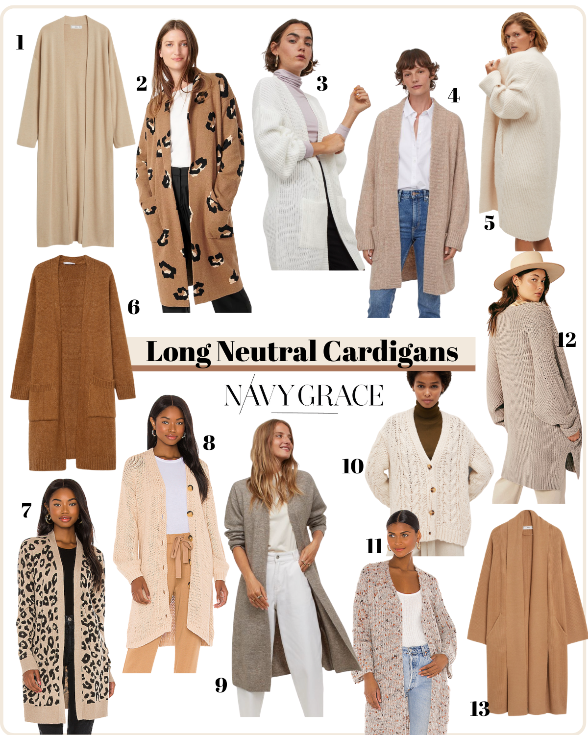 Long Cardigans by popular San Diego fashion blog, Navy Grace: collage image of neutral long cardigans.