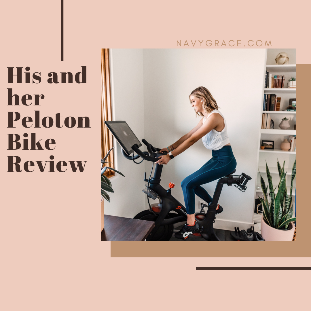 Popular Topics by San Diego lifestyle blog, Navy Grace: Pinterest image of a woman on a Peloton bike.