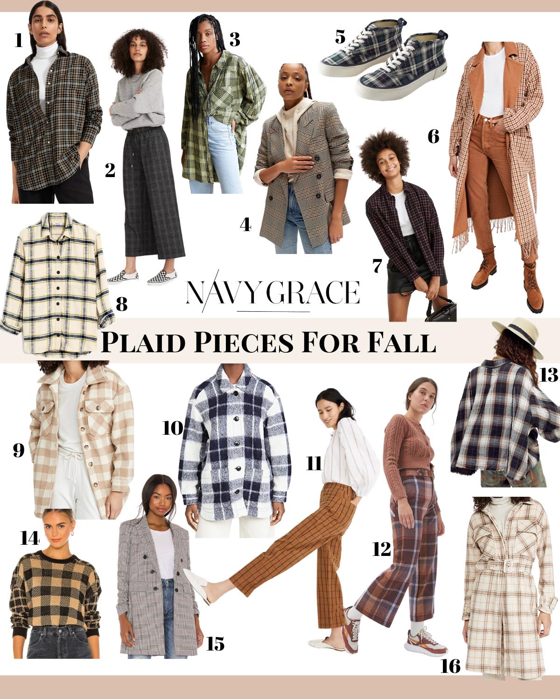 Plaid Clothing by popular San Diego fashion blog, Navy Grace: collage image of plaid shirts, plaid jackets, plaid pants, plaid skirt, plaid blazer, and plaid high top sneakers.