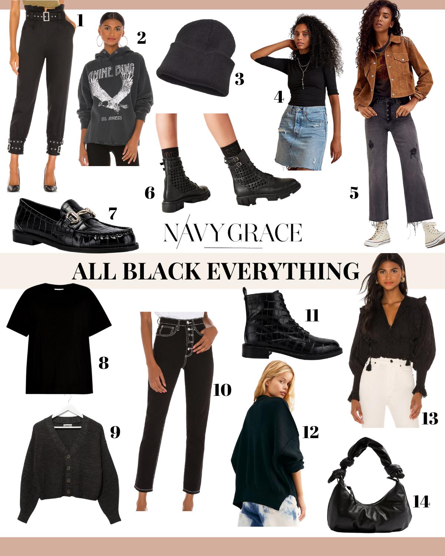 Black Clothing by popular San Diego fashion blog, Navy Grace: collage image of black pants, black shirts, black jackets, black purse, black beanie, black loafers, and black combat boots.