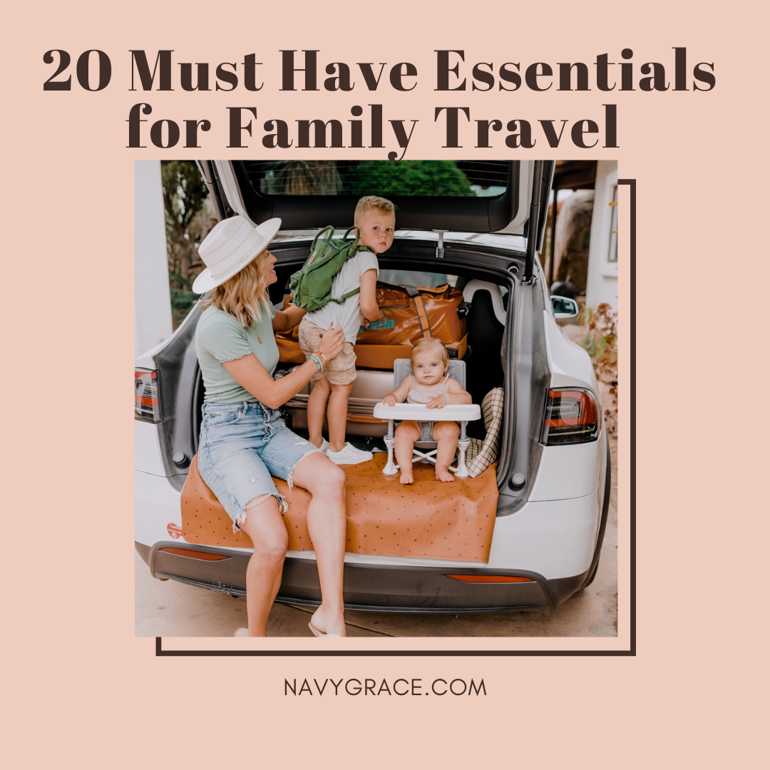 Popular Topics by San Diego lifestyle blog, Navy Grace: Pinterest image of a mom and her two kids sitting in the back of their car on a Gathre mat.