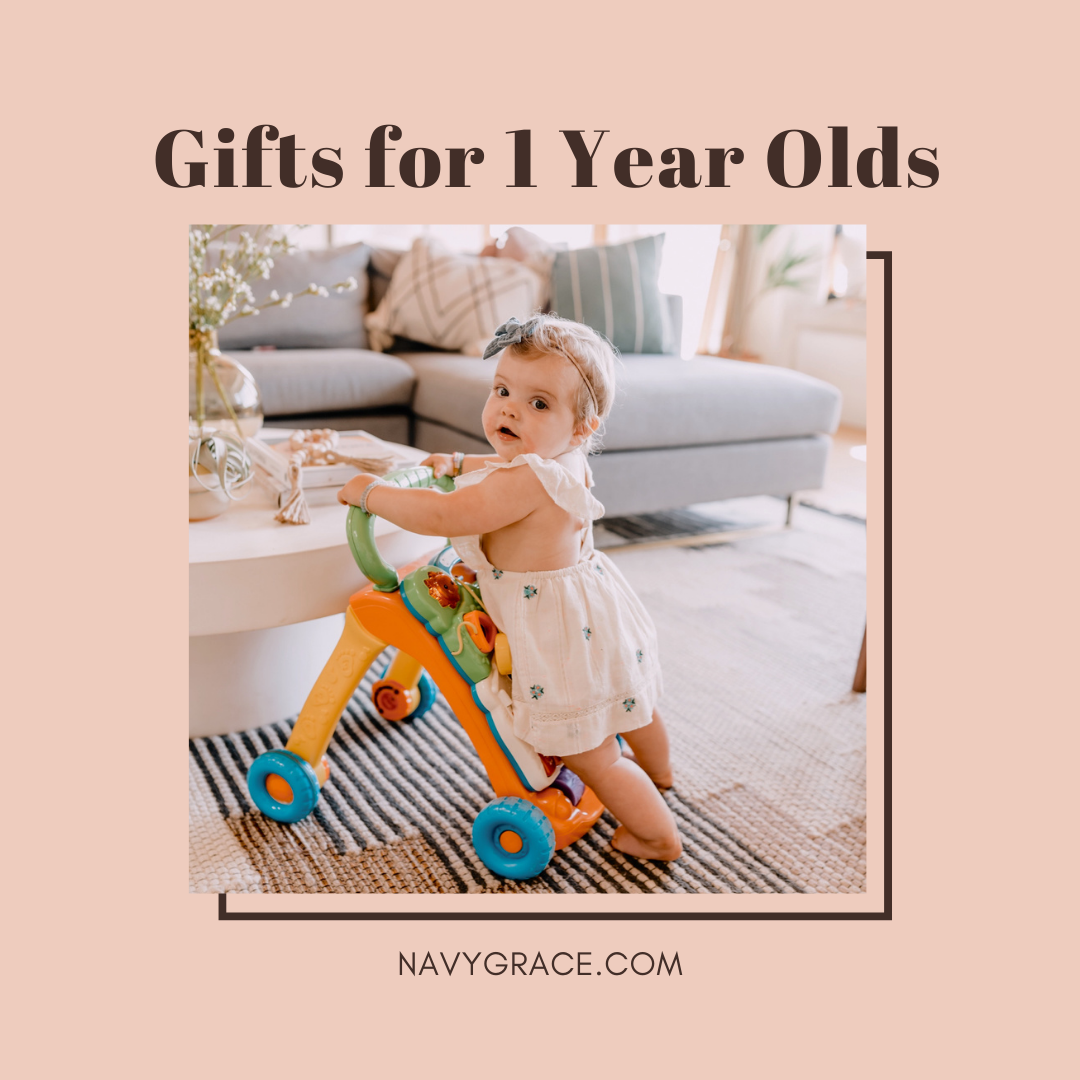 Popular Topics by San Diego lifestyle blog, Navy Grace: Pinterest image of a baby girl playing with a walker toy.
