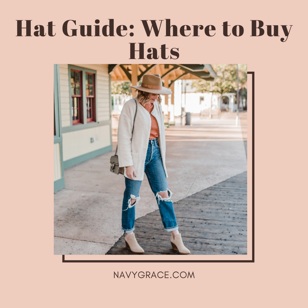 Popular Topics by San Diego lifestyle blog, Navy Grace: Pinterest image of a woman wearing a hat, distressed denim, suede ankle boots and a cream jacket.