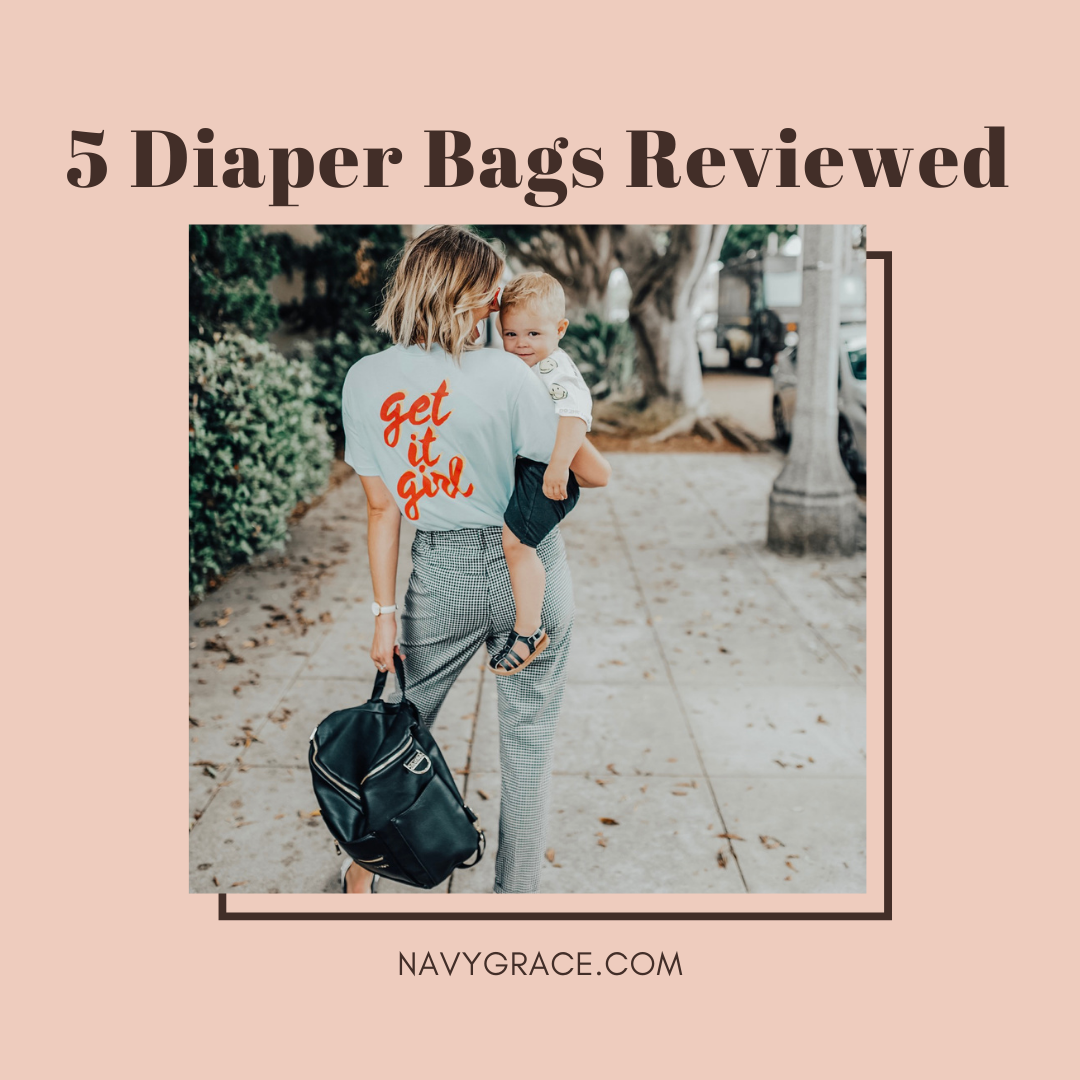 Popular Topics by San Diego lifestyle blog, Navy Grace: Pinterest image of a woman holding her son and a Fawn Design diaper bag.