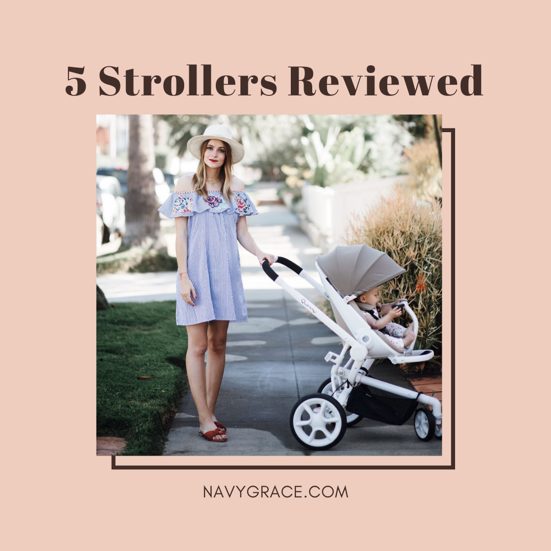 Popular Topics by San Diego lifestyle blog, Navy Grace: Pinterest image of a woman pushing her baby in a stroller.