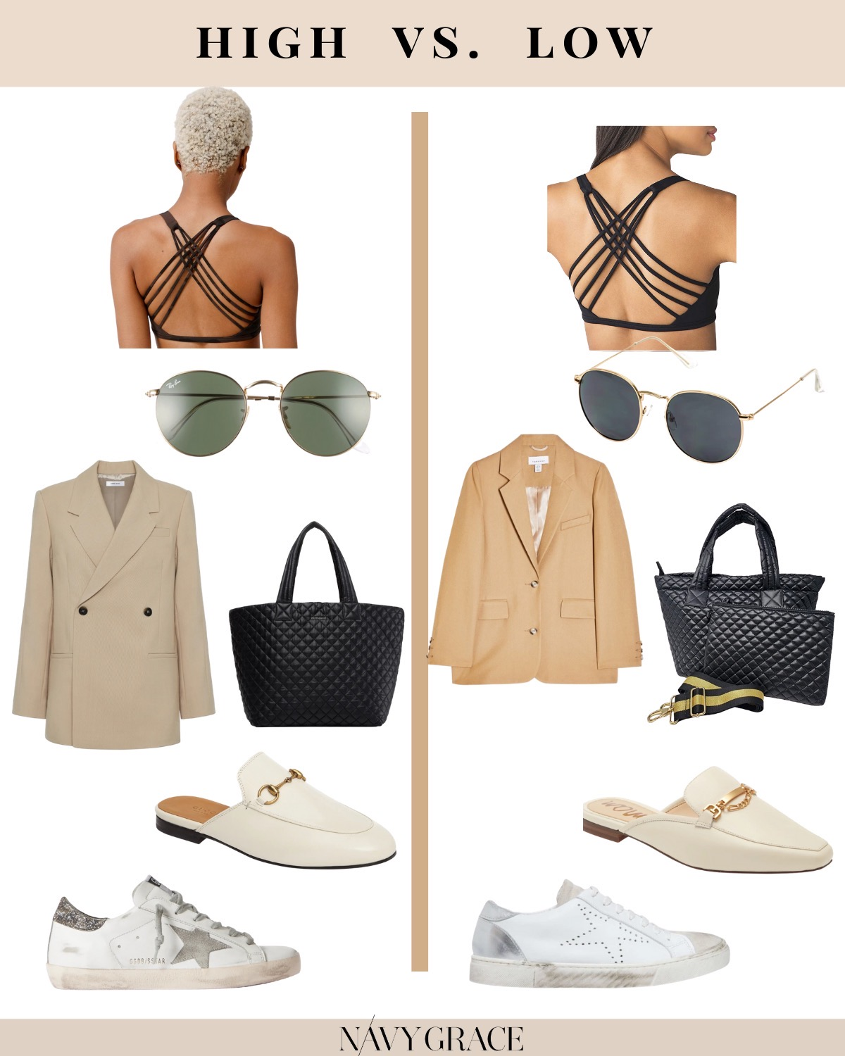 Fashion Tips by popular San Diego fashion blog, Navy Grace: collage image of a Nordstrom Single Breasted Girlfriend Blazer TOPSHOP, Nordstrom Chicago Ripped Knee High Waist Dad Jeans TOPSHOP, Everlane The Air Oversized Crew Tee, Nordstrom Princetown Loafer Mule, Nordstrom Icons 50mm Round Metal Sunglasses RAY-BAN, black sports bra, Golden Goose Sneakers, and quilted black purse.