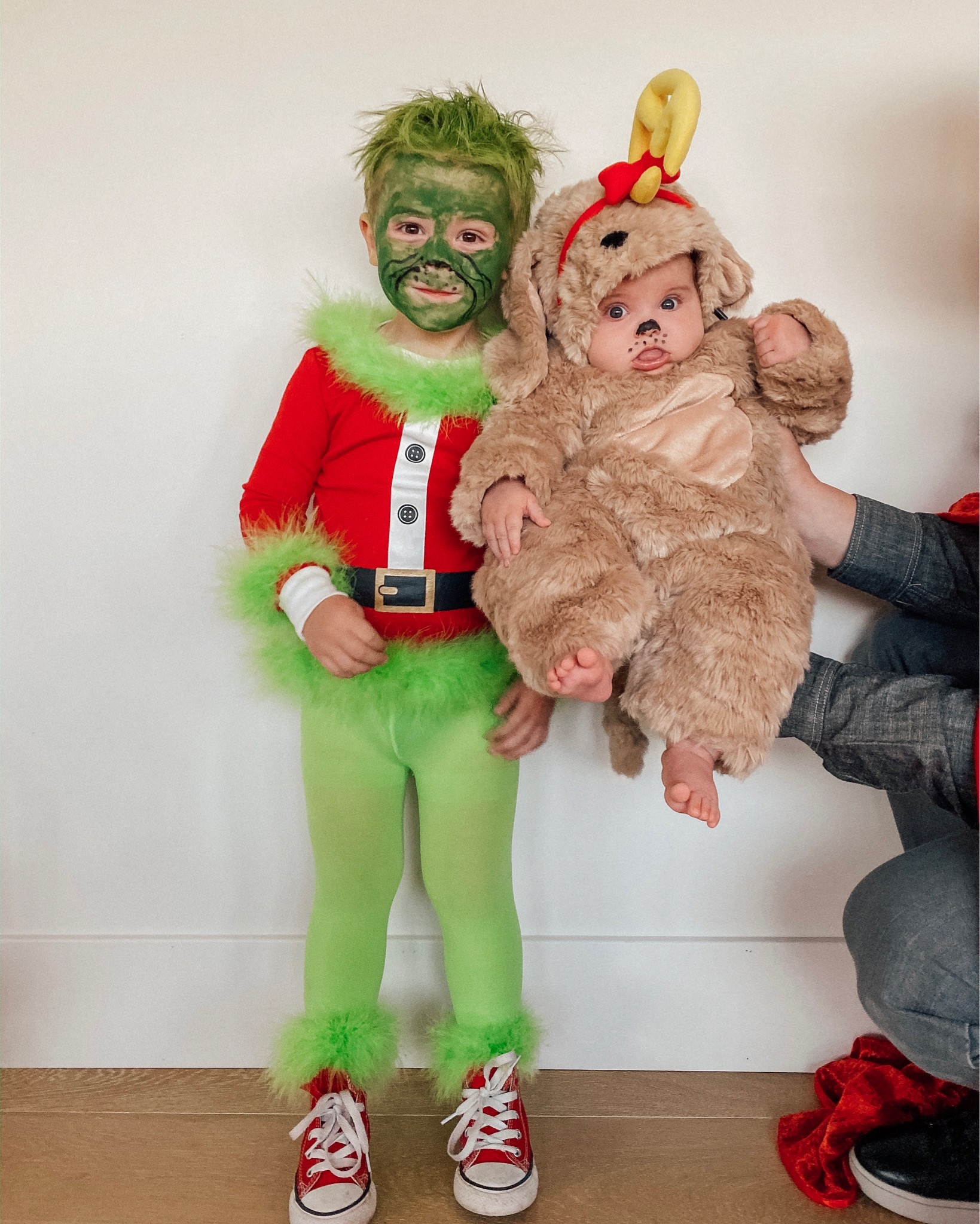 Family Halloween Costumes by popular San Diego lifestyle blog, Navy Grace: image of a family dressed up as characters from The Grinch.