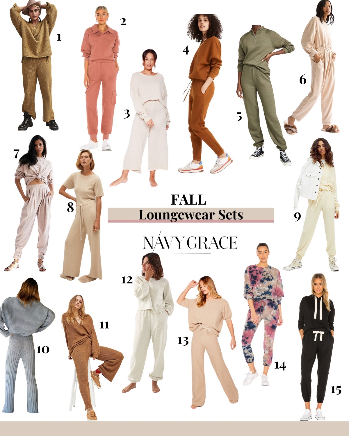 Loungewear Sets by popular San Diego fashion blog, Navy Grace: collage image of various loungewear sets.