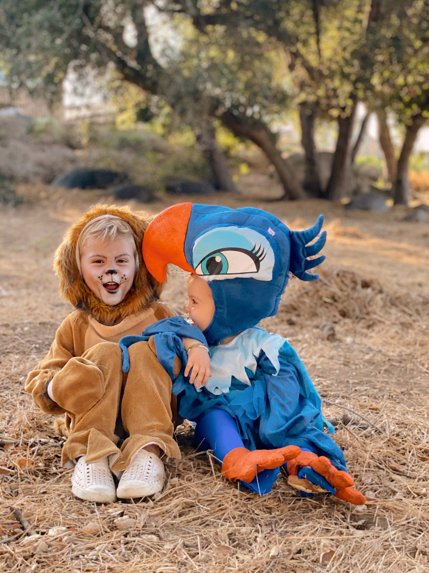 Family Halloween Costumes by popular San Diego lifestyle blog, Navy Grace: image of a boy and girl dressed up as Simba and Zazu from The Lion King.