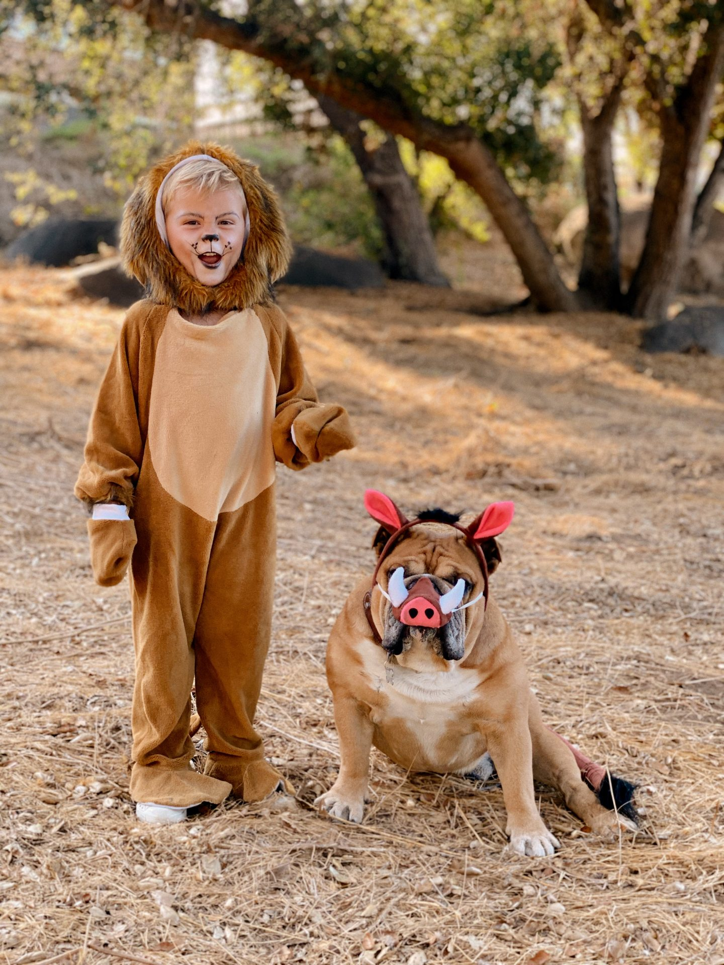 Family Halloween Costumes by popular San Diego lifestyle blog, Navy Grace: image of a boy dressed up as Simba and his dog dressed up as Pumba from The Lion King.