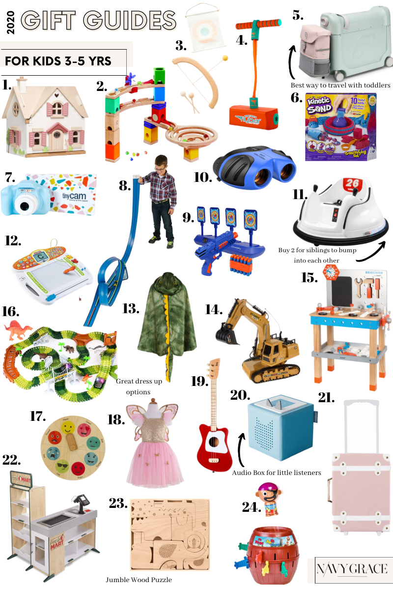 24 PRESCHOOLER GIFTS YOUR 3 TO 5 YEAR OLDS WILL LOVE featured by top San Diego lifestyle blogger, Navy Grace | Preschooler Gifts by popular San Diego lifestyle blog, Navy Grace: collage image of a Cottontail Cottage playhouse, marble track blocks, bow and arrow toy set, pogo jumper, jet kids bed box, kinetic sand, tiny cam, race car track, foam dart toy, binoculars, kids bumper cars, v-tech creative center, t-rex dinosaur cape, remote control excavator, emotion wheel, mini guitar, toniebox, olli ella suitcase, melissa and doug grocery store, safari jumbo wood puzzle, pop-up pirate, and dino eggs dig kit