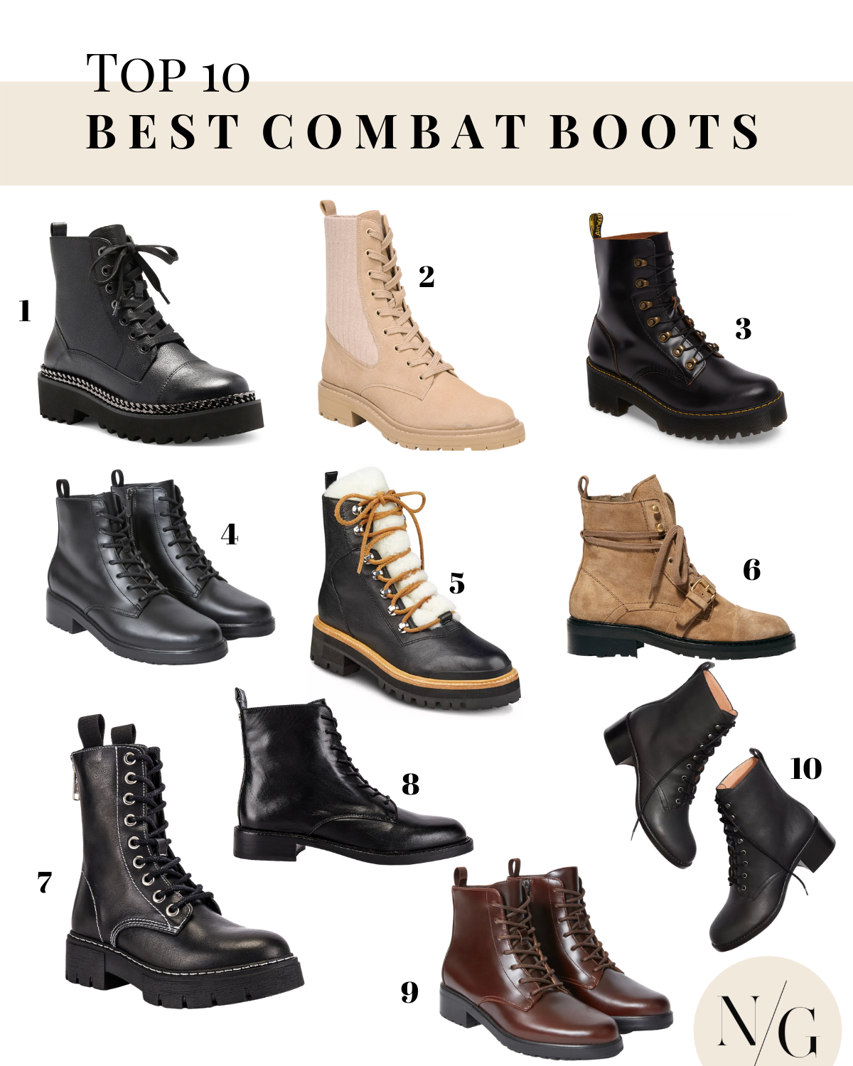 Top 10 Best Women's Combat Boots - Navy Grace - Camilla Thurman |Combat Boots by popular San Diego fashion blog, Navy Grace: collage image of combat boots.