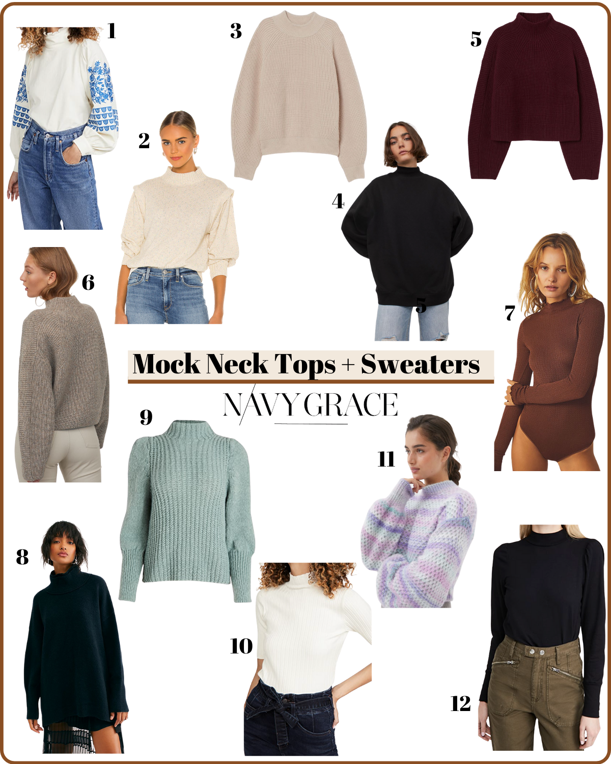 Mock Neck tops and Sweaters