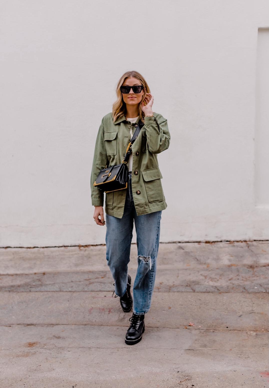 2 Ways To Style A Military Jacket - Camilla Thurman - Navy Grace